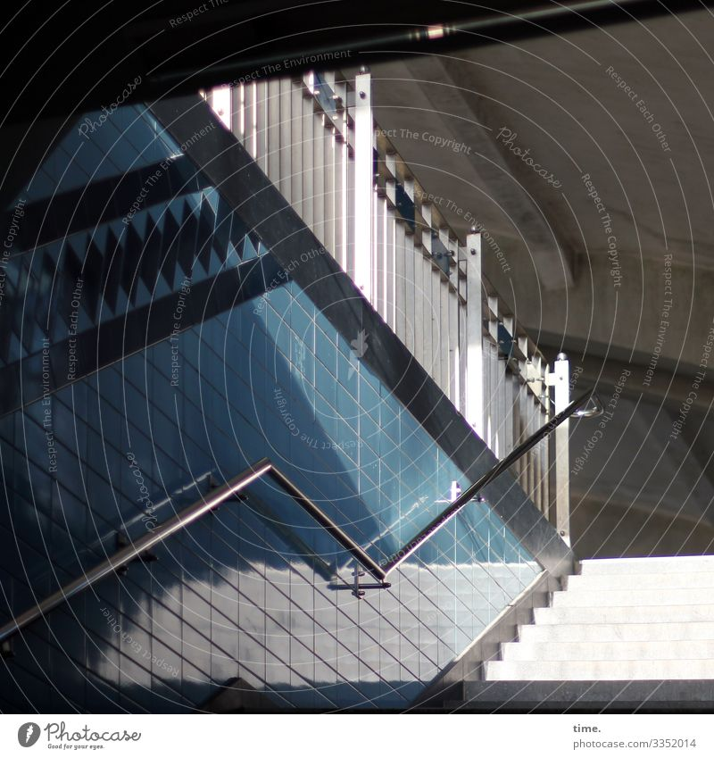 Angle piece Stairs tiles Sunlight Shadow handrail Safety Handrail Train station Building Roof Blue White Perspective Upward Architecture sunny lines Escape