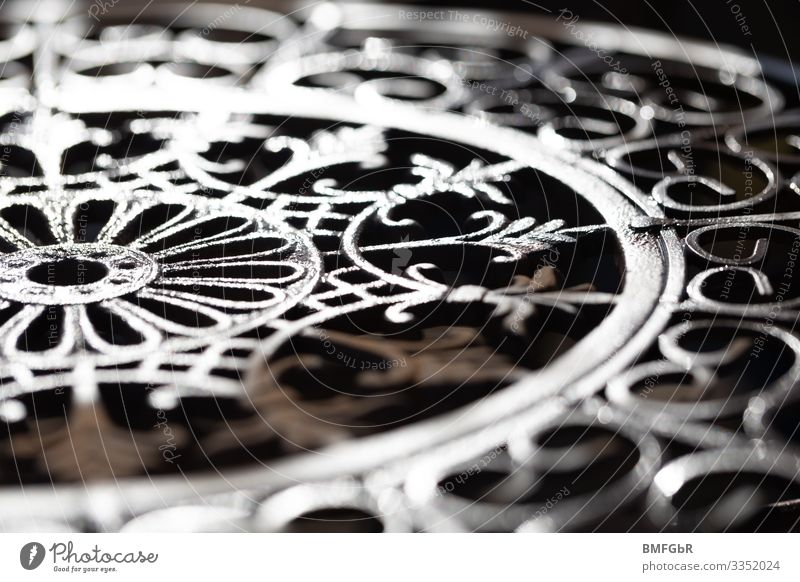 Work of art made of metal and light Chair Metal Sign Ornament Line Bow Network Esthetic Contentment Lanes & trails Craft (trade) Iron Repeating Circle
