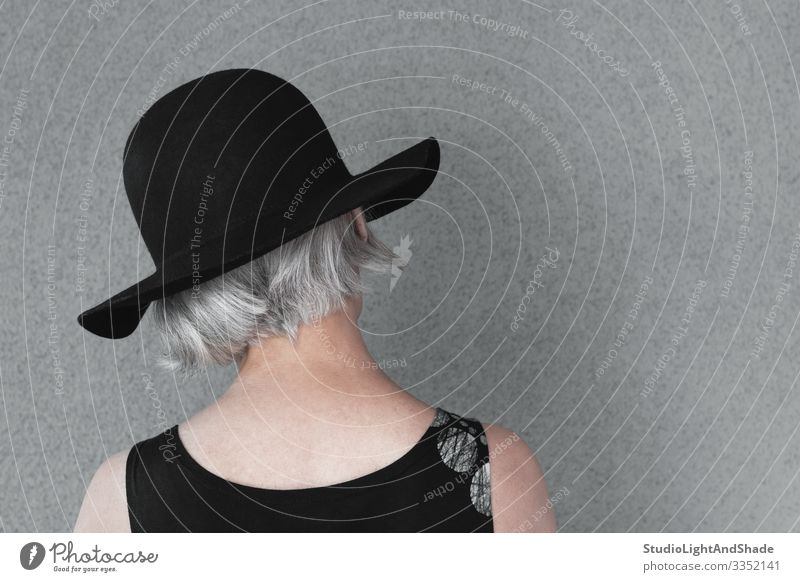 Lady with gray hair in black hat Lifestyle Elegant Style Beautiful Hair and hairstyles Health care Human being Feminine Woman Adults Fashion Dress Hat Old