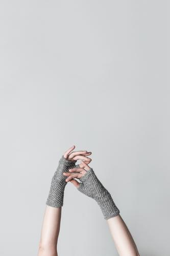 Elegant hands in knitted gloves Design Leisure and hobbies Knit Craft (trade) Human being Feminine Woman Adults Arm Hand Fingers Warmth Touch Simple Natural