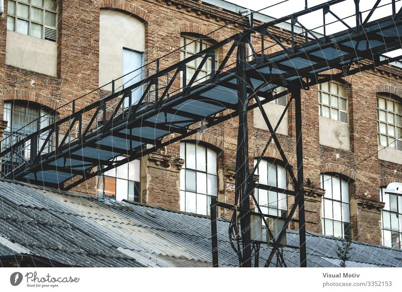 Iron bridge of an old factory Factory Industry Bridge Building Architecture Metal Steel Brick Old Historic Strong Supporting Industrial ceiling