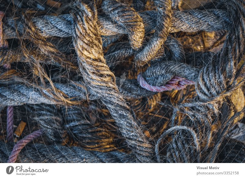 Old heap of ropes stacked untidily Ocean Climbing Mountaineering Sailing Industry Tool Rope Coast Harbour Watercraft String Colour equipment waterfront Jetty