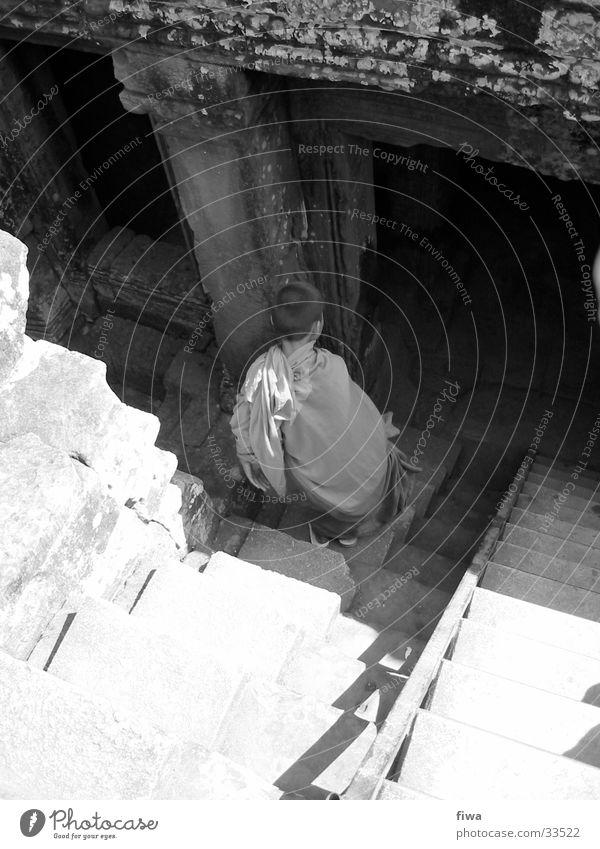 Ankor Wat Temple Man Monk Stairs Black & white photo Cambodia Shadow