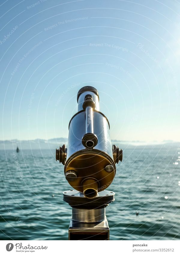 old | vintage look telescope Old Landscape Lake Water Sky Lake Constance Tourism Germany Optics Remote View farsightedness Vacation & Travel Exterior shot