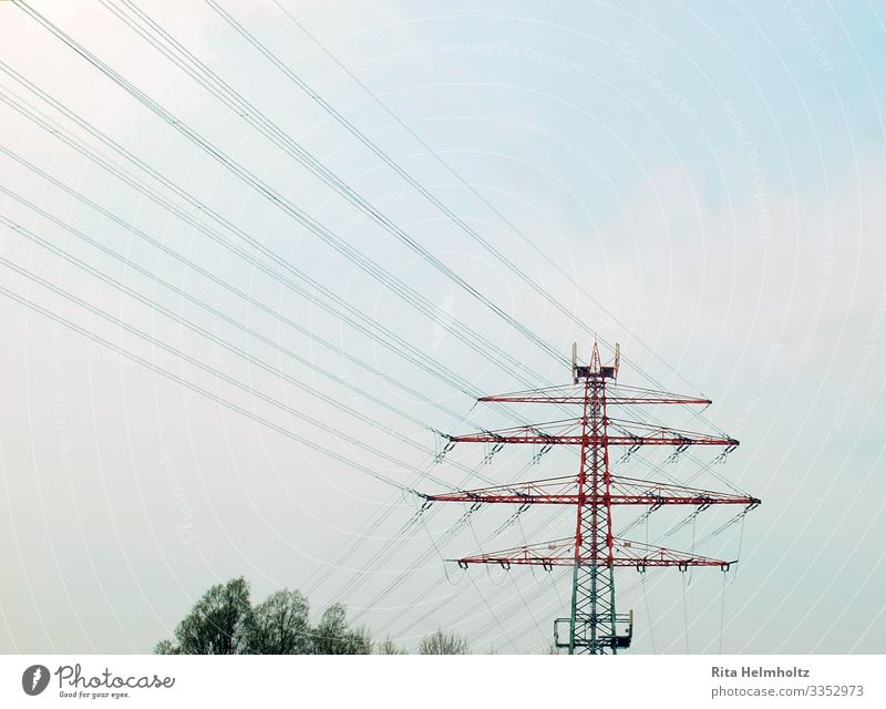 power pole Technology Energy industry Electricity pylon Environment Cloudless sky Climate change Metal Steel Line Blue Green Red Planning