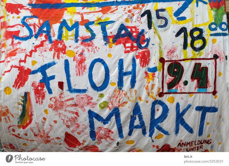 Colourful, funny, witty, cheerful poster made of fabric with hand-written letters / invitation with fabric colours, to an event with time and date, from a flea market, on Saturday, in the city