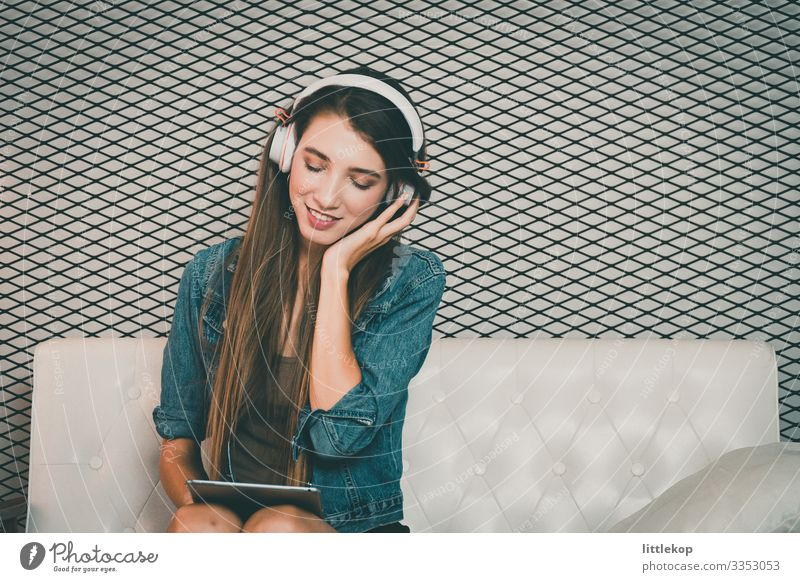 Young beautiful girl enjoy music. Lifestyle Style Happy Beautiful Relaxation Leisure and hobbies Music Telephone Human being Woman Adults Youth (Young adults)