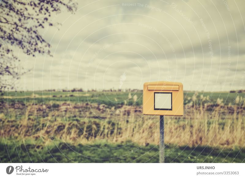 Mailbox in the landscape Nature Landscape Sky Horizon Spring Grass Field Exceptional Brown Yellow Green meadow landscape Colour photo Subdued colour