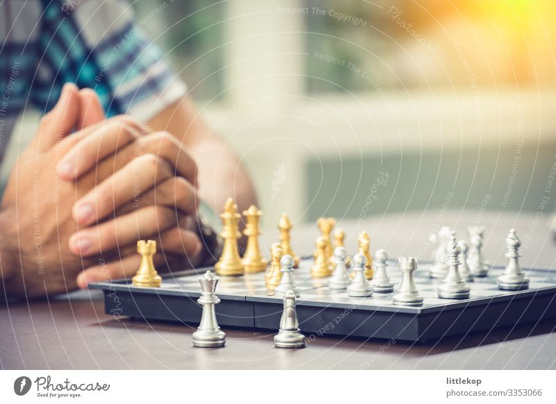 Casual businessman playing chess game with retro style photo Chess Success Business Man Adults Think Competition Creativity Battle queen King chess pieces