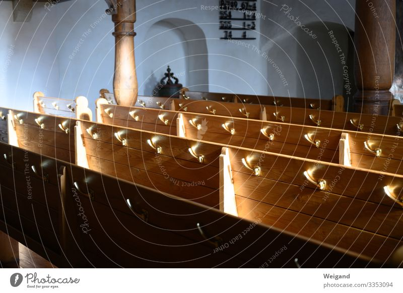 Church pew Sit Boredom Bench Belief Christianity Catholicism Protestantism Church service Interior shot Copy Space left