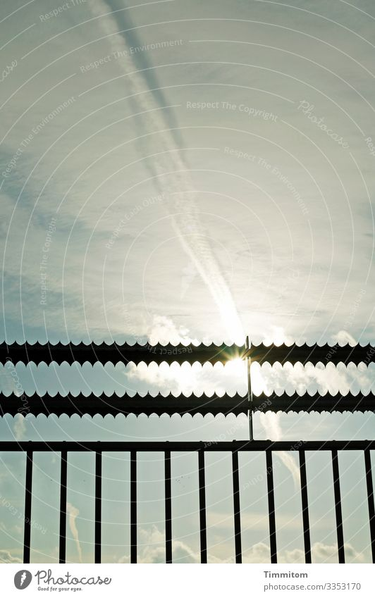 Sun and lattice Sky Clouds Sunlight Weather Fence Grating Metal Line Esthetic Blue Black White Colour photo Exterior shot Deserted Day Light Shadow