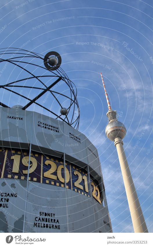 Television tower and world time clock in Berlin World time clock Alexanderplatz Berlin TV Tower Landmark Capital city Architecture Tourist Attraction Sky Blue