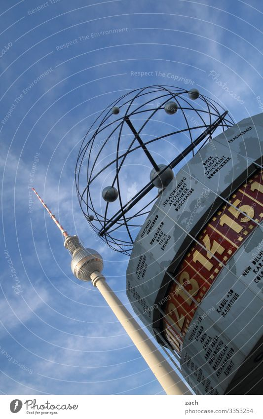 world time Clock Sky Beautiful weather Berlin Town Capital city Downtown Deserted Tower Tourist Attraction Landmark Television tower Berlin TV Tower