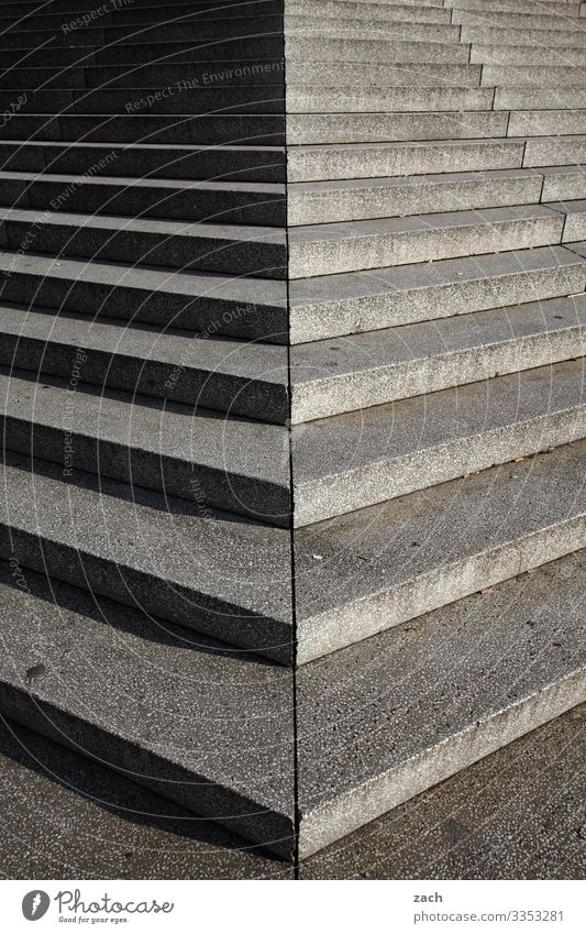 Step by step with shadow Town Capital city Downtown Pedestrian precinct Places Stairs Staircase (Hallway) Lanes & trails Concrete Line Gray Subdued colour