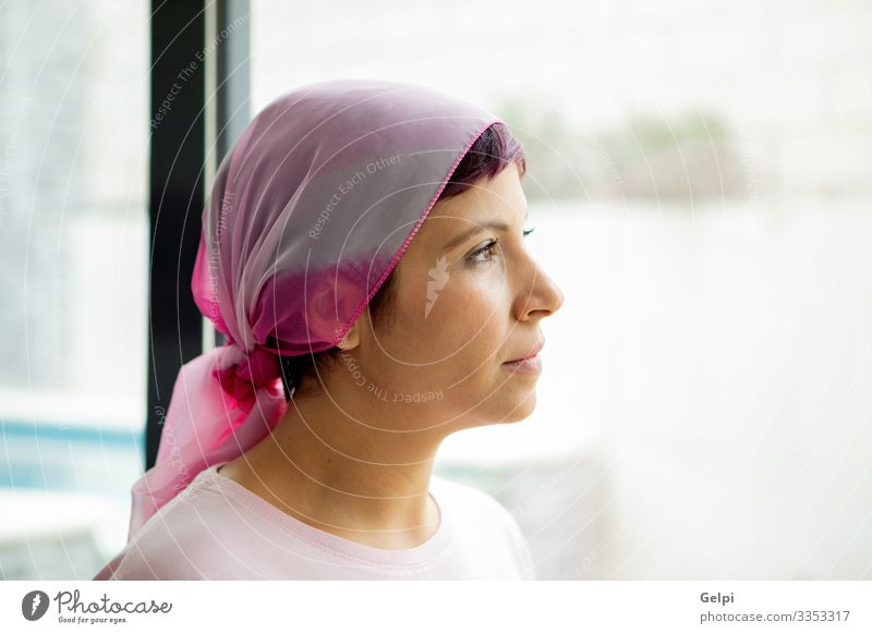 Woman with pink scarf on the head. Cancer awareness Happy Illness Relaxation Hospital Adults Scarf Bald or shaved head Smiling Strong Pink Self-confident Hope