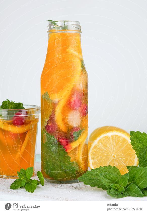 summer refreshing drink lemonade Fruit Herbs and spices Vegetarian diet Beverage Cold drink Lemonade Juice Alcoholic drinks Bottle Glass Summer Leaf