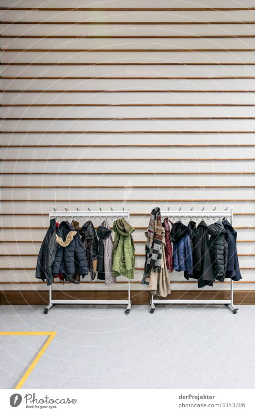 Coat rack in an event cloakroom Berlin Event wardrobe Hanger Culture Music Architecture Deserted Art avant garde Concert spot Light Light (Natural Phenomenon)