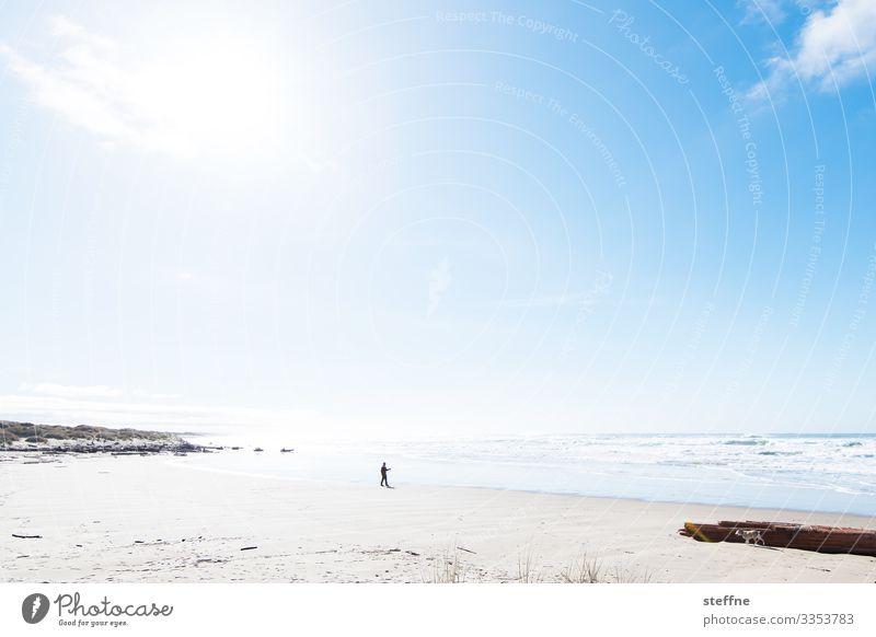 Human being Sky Vacation & Travel Nature Landscape Sun Ocean Relaxation Beach Coast Waves Beautiful weather Sandy beach Pacific Ocean Oregon Pacific beach