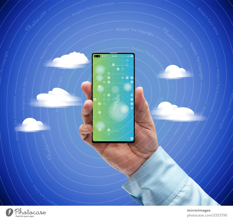 Cloud 4g 5g technology smartphone bussness man holding in clouds Lifestyle Style Design Success Work and employment Profession Workplace Industry Media industry