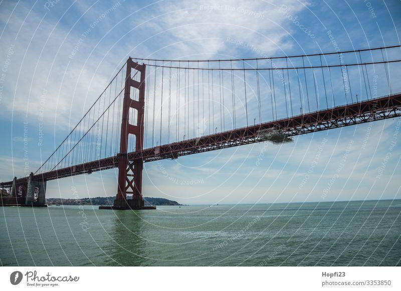 Golden Gate Bridge Water Spring Summer Beautiful weather Coast Bay Ocean Town Driving Walking Gigantic Large Blue Orange Vacation & Travel Traverse navigated