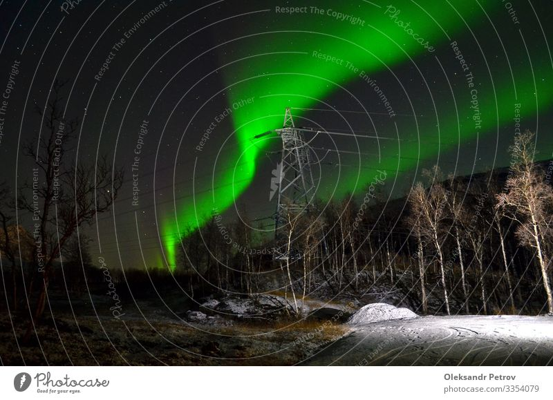 High voltage line with the northern lights Vacation & Travel Nature Landscape Autumn Snow Aurora Borealis Peaceful high voltage power lines borealis Norway