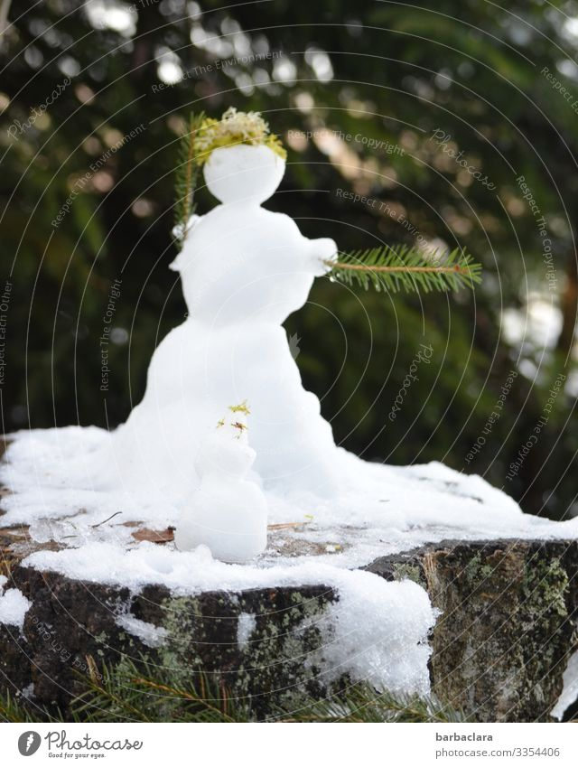 Ice Age | A snowman has a hard time these days Nature Landscape Plant Winter Snow Forest Snowman Stand Cold White Moody Joy Climate Creativity Environment