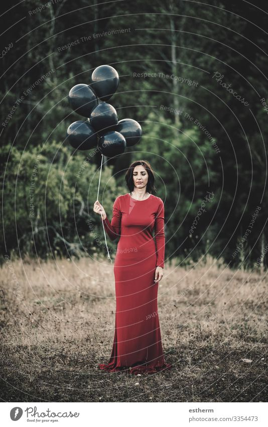 Young Woman with balloons in the field Lifestyle Elegant Style Beautiful Relaxation Freedom Human being Feminine Young woman Youth (Young adults) Adults 1
