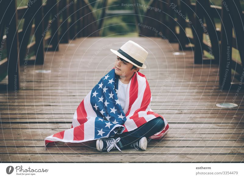child with the flag of the United States Lifestyle Joy Vacation & Travel Freedom Sightseeing Summer Feasts & Celebrations Human being Masculine Child