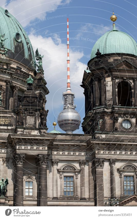 Old Architecture Building Tourism Stand Church Tower Retro Manmade structures Skyline Landmark Downtown Tourist Attraction Dome Capital city Berlin TV Tower