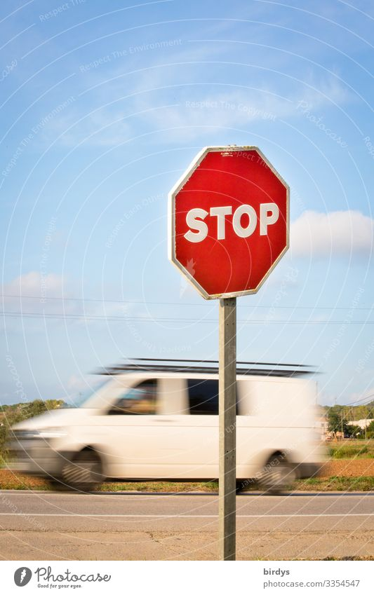 Stop sign in front of road entrance, passing delivery van with motion blur 1 Human being Sky Climate change Beautiful weather Transport Road traffic Motoring