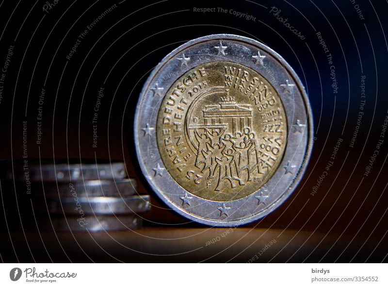 we are one people Human being Crowd of people Germany Brandenburg Gate 2 Euro coin Coin Metal Feasts & Celebrations Embrace Authentic Together Historic Original