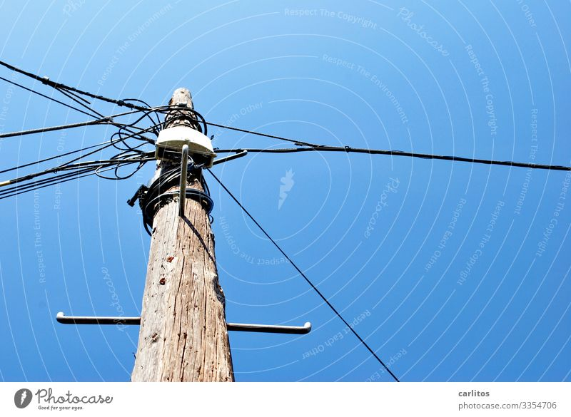 Streetwise... Spain Balearic Islands Majorca Pole Electricity pylon Telegraph pole Cable Telephone Cable TV Telecommunications Connection Knot Sky Wood Blue
