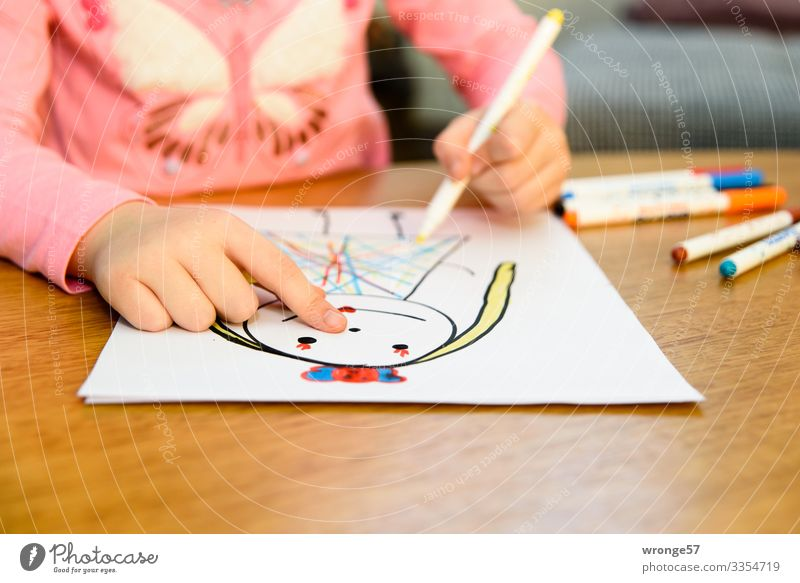 Child draws a princess II with pens Girl Playing Infancy Painting (action, artwork) Draw Multicoloured Hand 3 - 8 years Interior shot Art Close-up Colour