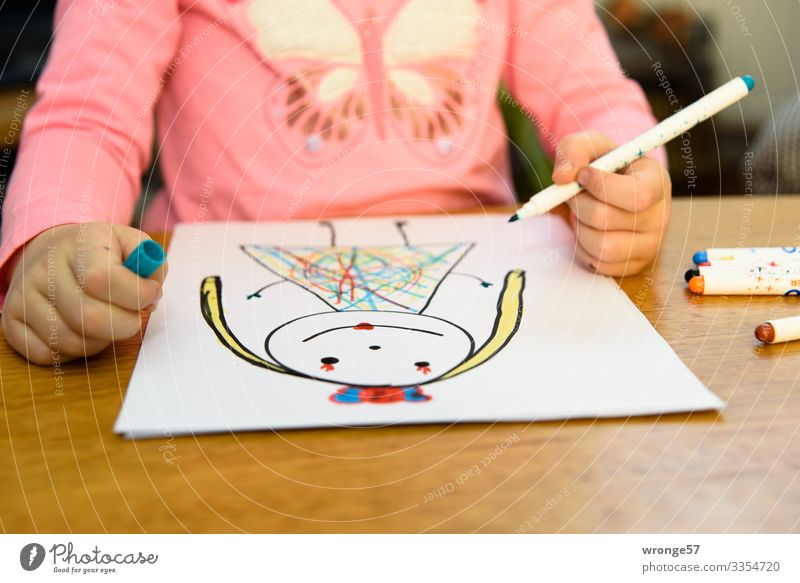Child draws a princess with pens Girl Playing Infancy Painting (action, artwork) Draw Multicoloured Hand 3 - 8 years Interior shot Art Close-up Colour