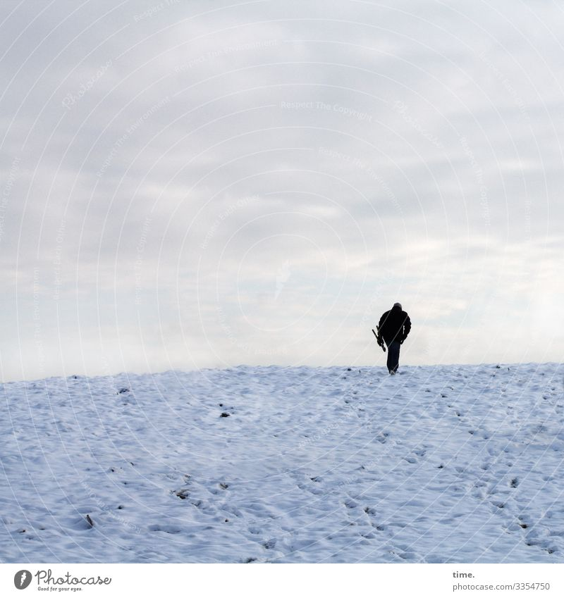 Human being Sky Man Clouds Loneliness Winter Adults Cold Lanes & trails Snow Movement Going Horizon Masculine Perspective Hope