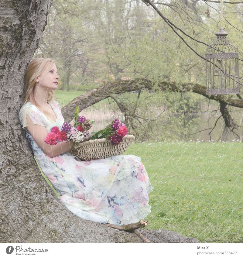 Human being Youth (Young adults) Beautiful Tree Relaxation Flower Calm Young woman Adults Love 18 - 30 years Life Feminine Emotions Spring Dream