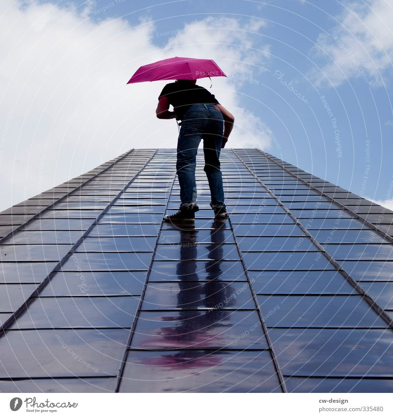 Main thing with umbrella Style Joy Human being Masculine Young man Youth (Young adults) Man Adults Life 1 18 - 30 years Sky Clouds Exceptional Infinity