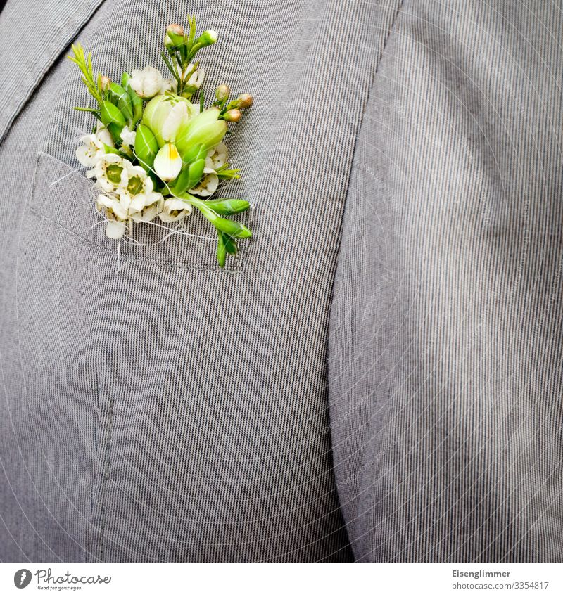 Human being Green Flower Adults Happy Feasts & Celebrations Gray Design Masculine Elegant 45 - 60 years Shopping Wedding Jacket Suit Partner