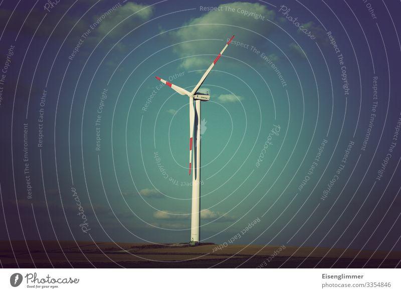 Sky Blue Environment Horizon Retro Wind energy plant Environmental protection Sustainability Rotor Center point Energy crisis