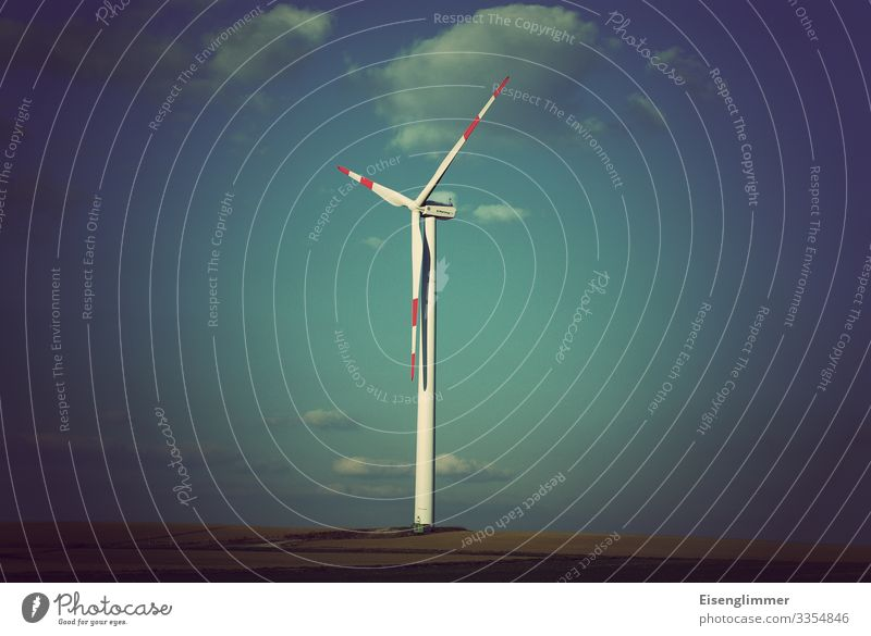 wind power Wind energy plant Energy crisis Retro Blue Horizon Center point Sustainability Environment Environmental protection Rotor Sky Colour photo