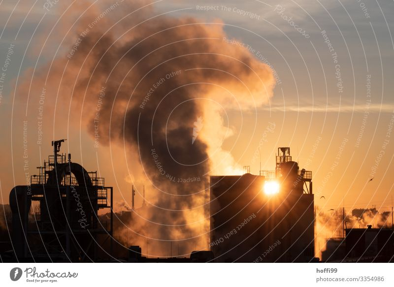 Sunrise with power plant and industry Energy industry Industry Chemical Industry Chemistry Coal power station Clouds Sunset Beautiful weather Industrial plant