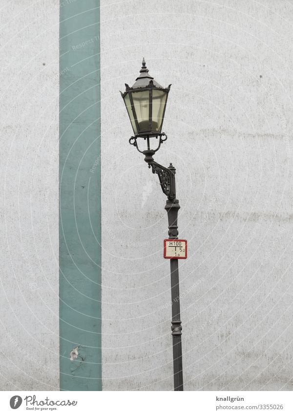 historic Town Wall (barrier) Wall (building) Gas lamp Illuminate Old Historic Black Turquoise White Tilt Exterior shot Deserted Copy Space left Copy Space right