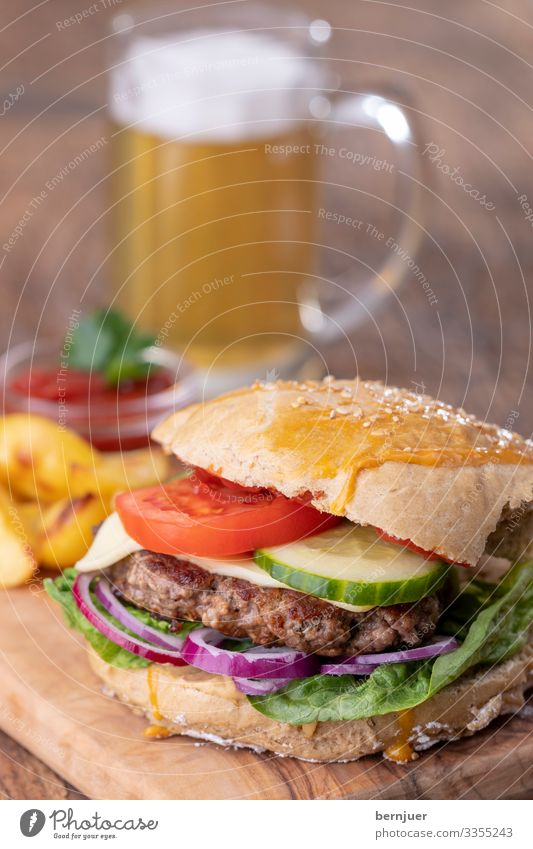 burgers Meat Cheese Bread Roll Lunch Dinner Beer Mug Table Wood Delicious Speed White French fries Potatoes Cheeseburger Roasted Sandwich Minced meat Rustic