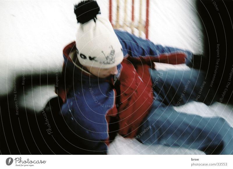 Winter Snow Masculine To fall Sudden fall Sledding Sledge Bobble hat