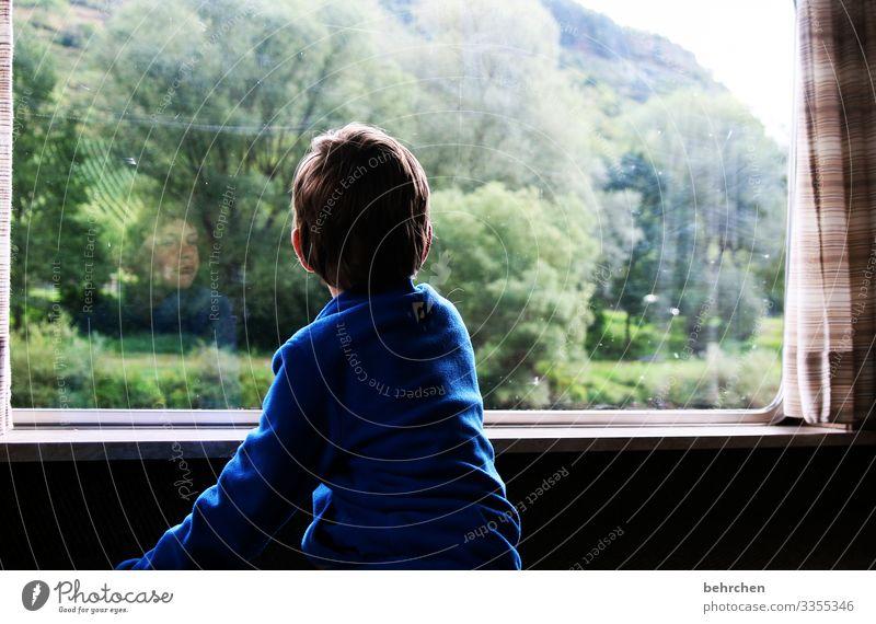 . Future Wanderlust Longing Hope Window Child portrait Infancy Boy (child) Family on one's own Loneliness Daydreamer melancholically melancholy sad Sadness