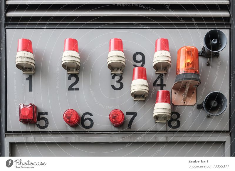 alarm Industry Digits and numbers Hideous Gray Red Safety Watchfulness Disciplined Fear Stress Planning Alarm Colour photo Exterior shot Close-up Deserted
