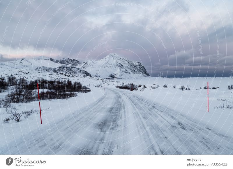 Vacation & Travel Nature Landscape Clouds Winter Street Cold Lanes & trails Snow Trip Ice Climate Frost Traffic infrastructure Scandinavia Norway