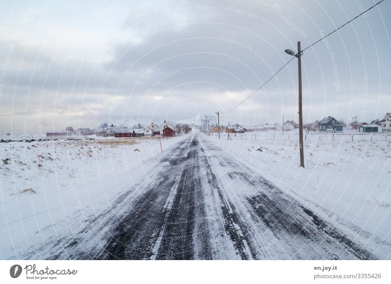 Eggum on the Lofoten Islands Central perspective Deep depth of field Day Copy Space top Exterior shot Colour photo Lane markings High voltage power line Climate