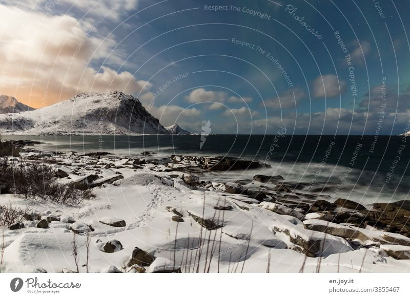 None Northern lights Vacation & Travel Ocean Winter Snow Winter vacation Nature Landscape Sky Clouds Night sky Stars Horizon Sunrise Sunset Ice Frost Hill Rock