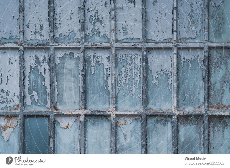 Old factory windows texture Design Factory Architecture Wood Dirty Blue Decline abandoned abandoned factory background exterior Grunge Industrial